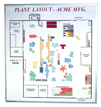 4'x 4' Magnetic Plant Layout White Board