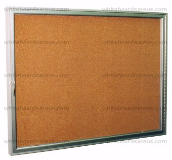Series 640  3' x 4' Display Case with Natural Corkboard Insert